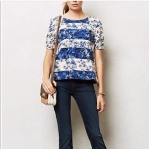 Anthropologie Blue and Gold Top Postmark Brand